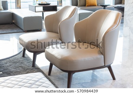 empty sofa or chair interior decoration in hotel lobby