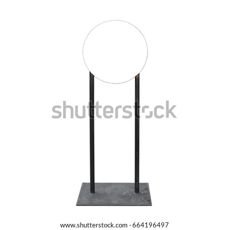 Empty space of circle light box, signboard black color metal stand and frame isolated on white background