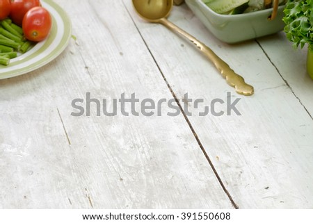 Empty space on the desk or counter in the kitchen with vegetable. #391550608