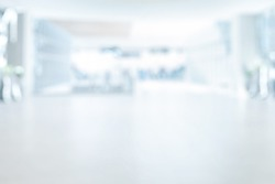 EMPTY SPACIOUS OFFICE BACKGROUND, WHITE AND BLUE MODERN LARGE MEDICAL HALL, BUSINESS INTERIOR