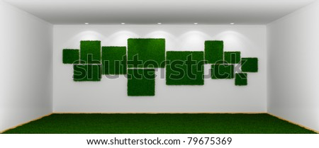 Empty spacious room with a green grassy  lawn  instead floor and blank pictures on wall covered with grass.