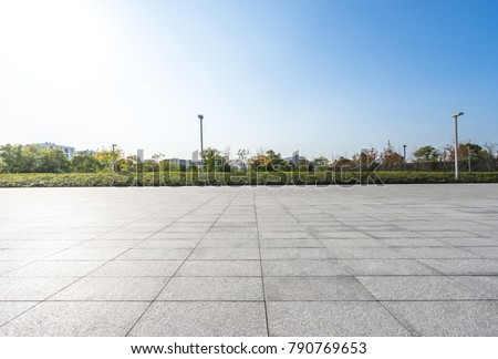Empty square and floor with cityscape,skyline #790769653