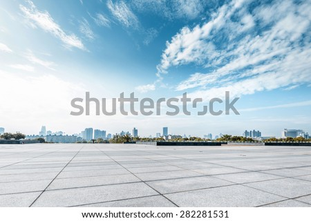 Empty square and floor with sky #282281531