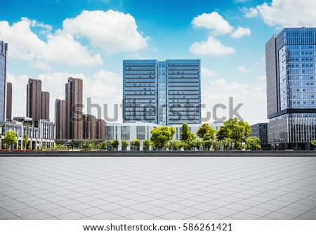 Empty square and floor with sky #586261421