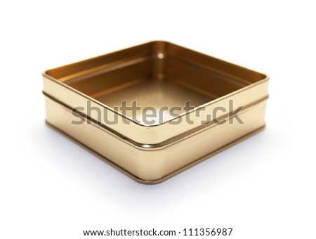 Empty square can or metal candy box, lid open, often used for packaging  premium confectionery. - stock photo
