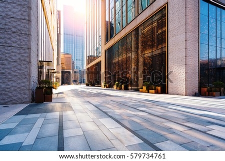 empty square front of modern office buildings in Shanghai financial district. #579734761