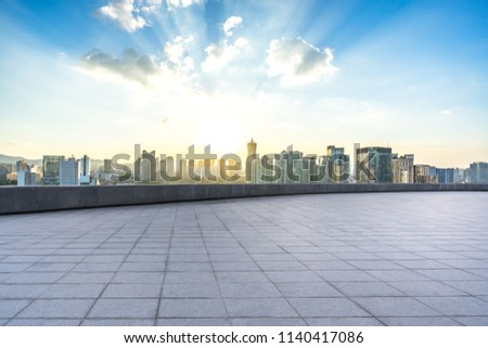 empty square with city skyline in hangzhou china #1140417086