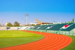 Empty stadium arena and race running track treadmill background, Bangkok, Thailand