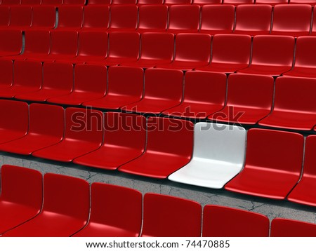 Empty stadium chairs, representing individuality - 3d illustration
