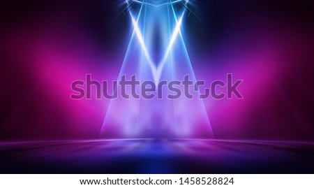 Empty stage, blue and pink, purple  neon, abstract background. Rays of searchlights, light, abstract tunnel, corridor.