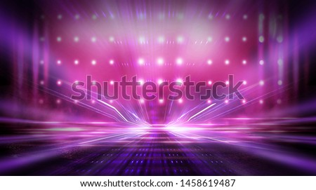 Empty stage, blue neon, abstract blue background. Rays of searchlights, light, abstract tunnel, corridor. #1458619487