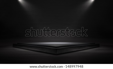 Empty stage 3D illustration with metallic texture can be used for musical theater concert or product display and more