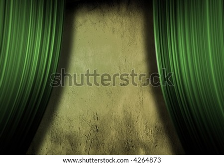 Empty Stage with grunge wall - stock photo