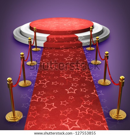 Empty stage with Red carpet High resolution 3d render