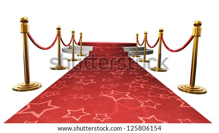 Empty stage with Red carpet isolated on white background. High resolution 3d render