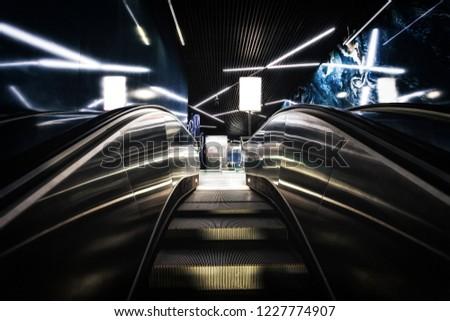 Empty Staircase Escalator Inside the Underground Subway Metro Station