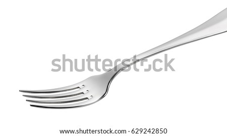 Photo of Empty Steel Fork isolated on white background