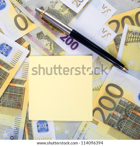 Empty sticker for notes on banknotes 200 euros