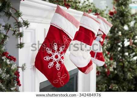 Empty Stockings Hung On Fireplace On Christmas Eve ストックフォト ©