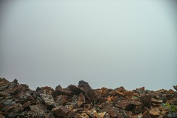Empty stone desert near abyss edge in thick fog. Zero visibility in mountains. Edge of abyss in dense fog in highlands. Minimalist nature background. Foggy mountain landscape. Lichens on sharp stones.