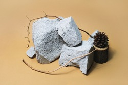 Empty stone podium composition for cosmetic products on beige background. Front view. Forest monochrome concept with cone and dry branches. Trendy rock display pedestal clipart. Minimal platform scene