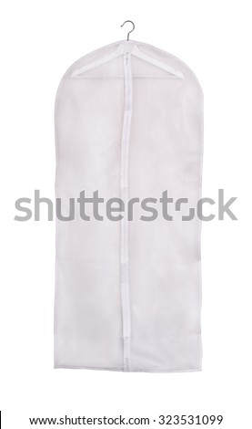 Empty storage clothes cover isolated on white