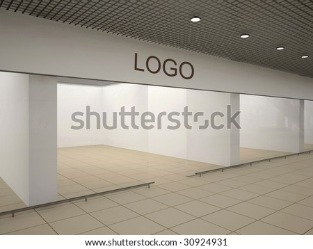 Empty store with signboard