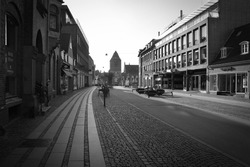 Empty street in Black and white illustrating citylife during a pandemic