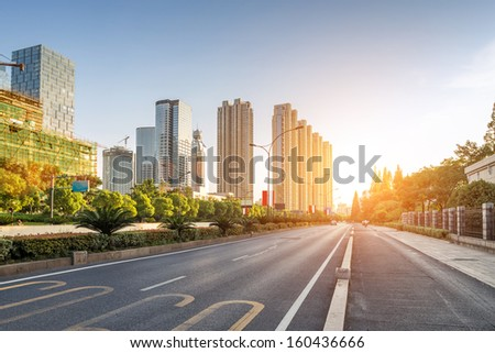 Empty Street In Modern City
