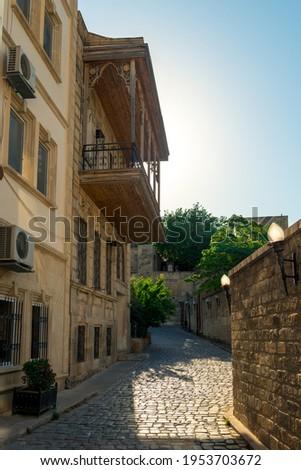 Empty street in old city Icheri Sheher of Baku, Azerbaijan. Architecture of Old city Baku. Inner City buildings.