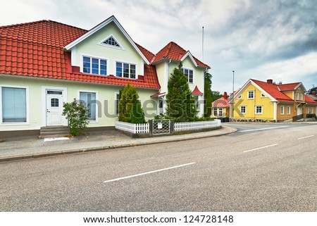 Empty street of Kyrkhult town in southern Sweden