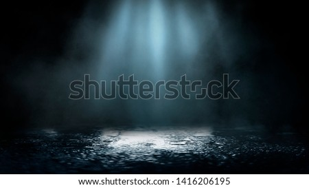 Empty street scene background with abstract spotlights light. Night view of street light reflected on water. Rays through the fog. Smoke, fog, wet asphalt with reflection of lights.  #1416206195