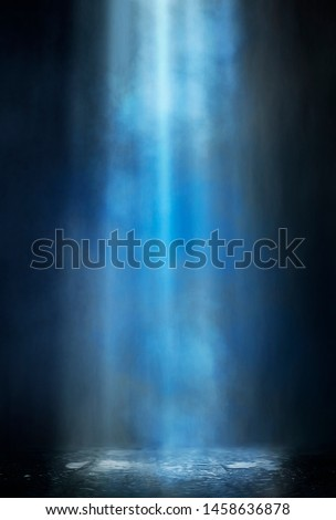 Empty street scene background with abstract spotlights light. Night view of street light reflected on water. Rays through the fog. Smoke, fog, wet asphalt with reflection of lights.  #1458636878