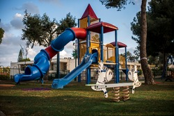 empty streets during Corona Virus quarantine - Empty children playground in neighborhood