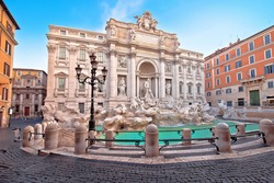 Empty streets of Rome. Majestic Trevi fountain in Rome street view, eternal city, capital of Italy