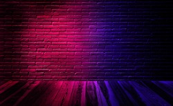 Empty studio dark room black brick wall with wooden floor and lighting effect red and blue.