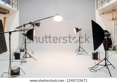 Empty studio with photography lighting