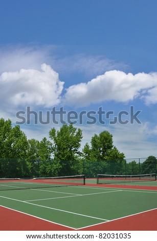 Empty Suburban Neighborhood Outdoor Tennis Court in Summer