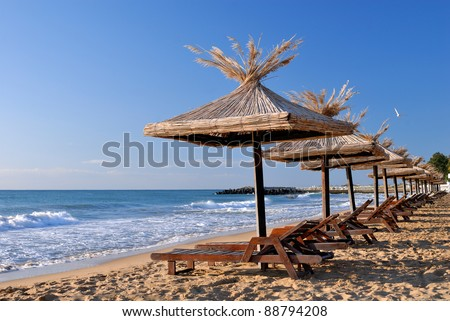 empty sunchairs and umbrellas on the sunny beach