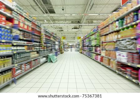 Empty supermarket aisle - stock photo