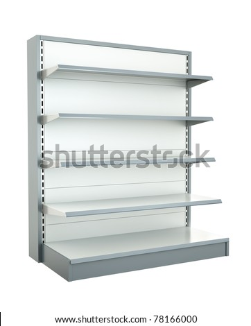 Empty supermarket shelf. 3D render.