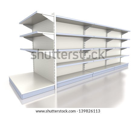 Empty supermarket shelf on white. Render of row of shelves - stock photo