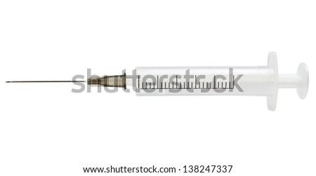 Empty syringe isolated on white