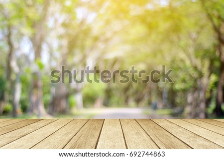 Empty table, perspective wood over blur tree with bokeh background, product display montage background #692744863