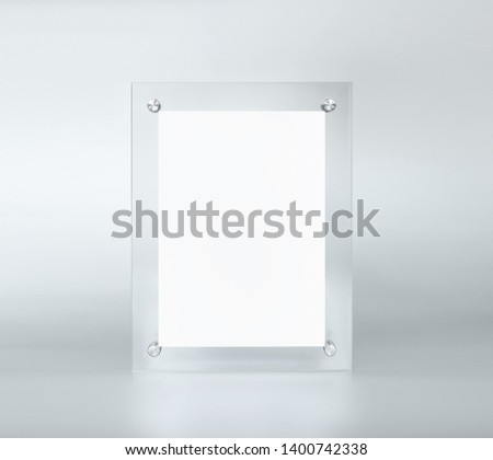 empty table tent mockup on grey background #1400742338