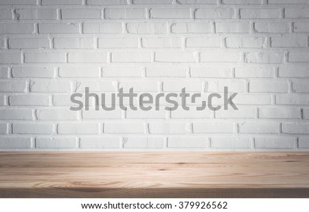 Empty table top with white brick wall background. product display montage #379926562