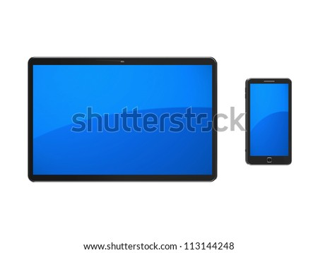 Empty tablet computer with mobile phone isolated on a white background