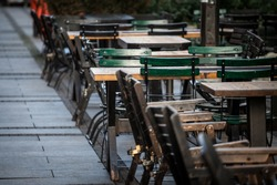 Empty terrace and patio of a bar restaurant of Belgrade, Serbia, closed due to the coronavirus covid 19 lockdown measures to prevent the spread of the disease.