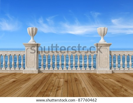 empty terrace overlooking the sea with concrete balustrade and wooden floor - rendering- the image on background is a my rendering composition
