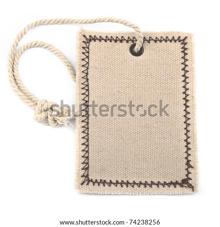 empty textile tag on white background, gentle natural shadow under it